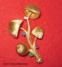 18k MUSHROOM TREE BROOCH DIAMOND SAPPHIRE RUBY EMERALD 16.30gr 2 1/8x1.25 INCHES