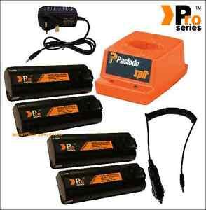 4xreplacement batteries1.5ah for paslode+mains&incar chargers & original base 2