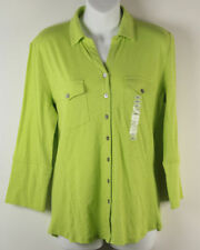 Grace Elements Button Shirt S Small Green 3/4 Sleeve Chest Pockets New