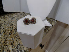 STERLING SILVER 925 ESTATE RED CABOCHON CARNELIAN POST EARRINGS BRASS ACCENTS