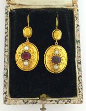 Una splendida coppia di RUBY & PEARL Filigrana Orecchini in oro circa anni 1800