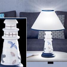 Textil Tisch Lampe Wohn Zimmer Keramik Schalter Lese Leuchte Leuchtturm Design