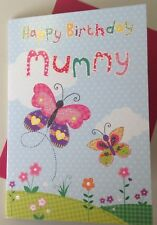 Mummy Birthday Card With Butterflies And Glitter