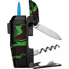 Premium Camo Spark 4-in-1 Multi-Tool Lighter Knife Corkscrew Bottle Opener