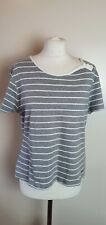 DASH Ladies Size 16 Grey/White Striped Crew Neck Short Sleeve Top/T-Shirt G6