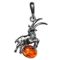 2.15g Capricorn Authentic Baltic Amber 925 Sterling Silver Pendant N-A1689B