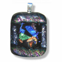 Handmade Dichroic Glass Pendant Necklace Women's Jewellery Blue Green Rainbow