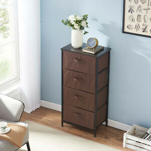 4-tier Storage Cabinet Tower With Metal Frame  And Fabric Drawer Storage Cabinet