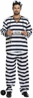 Black & White Prisoner Overall Costume - Halloween Fancy Dress Convict Adults