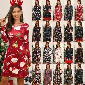 UK Womens Christmas Dress Ladies Party Santa Snowman Midi Swing Dress Size 8-22