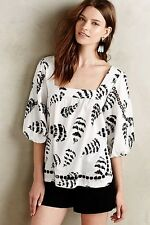 NWT NEW Anthropologie Penna Peasant Feather Print Blouse Top S Monochrom