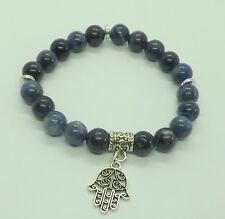 Sodalite 8mm Gemstones Hamsa Hand Charm Bracelet Lower Blood Pressure Mala