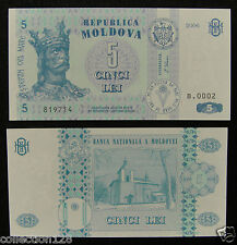 Moldova Paper Money 5 Lei 2006 UNC