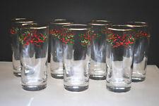 "VINTAGE ""CHRISTMAS RIBBON BOW"" GOLD RIM HOLIDAY HIGHBALL GLASSES (SET OF 7)"