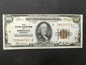 USA  100 Dollars 1929  -- FRB of Minneapolis  -- CRISP!!