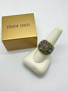 Heidi Daus Crystal Deco Pave Dome Turquoise Multi Stone Ring SZ 10