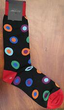Duchamp London Men's Cotton Mix Socks Size Medium Dot in Spot Black & Red Multi