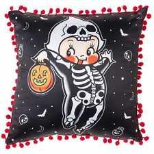 Sourpuss Kewpie Skeleton Cushion Pillow Homewares Cute Rockabilly Gothic Tattoo