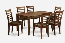 6Pc Set Include Capri Dinette Table w/ 6 Milan Faux Leather Chairs In Mahogany