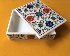 Marble trinket Box handmade semi precious stone floral inlay art decor