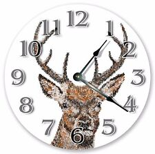 "10.5"" DEER HEAD PIXELS - ABSTRACT ARTIST CLOCK - Large 10.5"" Wall Clock 3347"