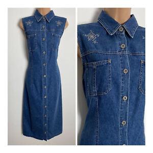 Vintage Bill Blass Sleeveless Embroidered Shirt Style Midi Denim Day Dress 12-14