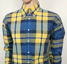 "Gant Mens Shirt Indigo Canvas Blue Gingham Check Size L - XL Chest 48"" Vintage"