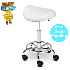 NEW White Salon Swivel Stool Adjust Height Saddle Seat Medical Barber Wheel Sit