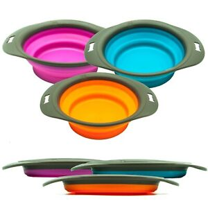 Dog Cat COLLAPSIBLE BOWL Pet Folding Silicone Portable Feeder Food Water Travel