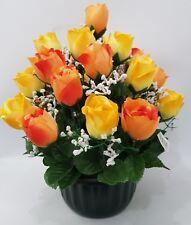 Quality Yellow Orange Vibrant Gypsophelia Artificial Potted Flowers 38cm 29Head