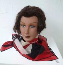Vintage Red, Black, & Cream Geometric Pattern 23 inch Square Scarf Made in Italy