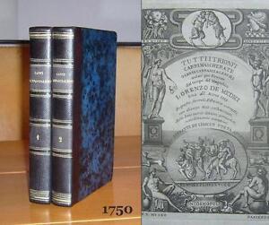 Rare 1750 TUTTI I TRIONFI Renaissance Risque Poetry LORENZO MEDICI Leather ENGRs