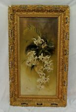 E. JOHNSON OIL ON CANVAS ORCHID BIRD PAINTING 1893 GOLD GILDED FRAME