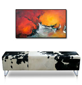 Cow hide leather seating bench. Real Fur! Illustration in cow skin black-white
