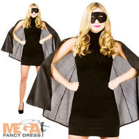 Black Superhero Cape Set Adults Fancy Dress Halloween Mens Ladies Costume Outfit