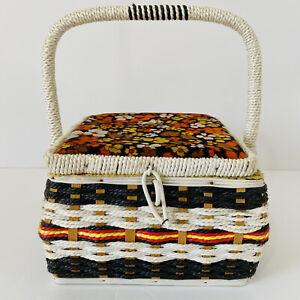 Vintage Floral Sewing Basket Box Black White Yellow Orange Square  Retro Funky