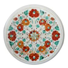 """12"""" White Marble Side Coffee Table Top Carnelian Floral Inlay Kitchen Decor W216"""