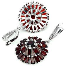 Sterling Silver 925 Large Genuine Natural Red Garnet Cluster Earrings