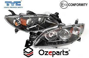 Set Pair LH+RH Head Light Lamp Black For Mazda 3 BK 4 Door Sedan SP23 03~09