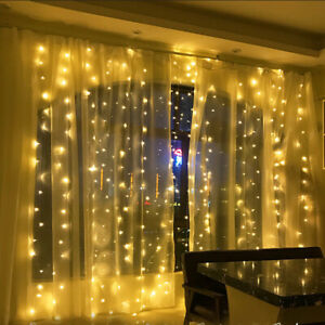 LED Fairy Lights Waterfall Curtain String Wedding Party Outdoor Lamp 6X3 M 220