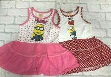 Pink Red Minions Dress Polka Dot Girls Summer Age 3 4 6 8 Brand New