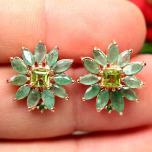 NATURAL GREEN EMERALD PERIDOT & TSAVORITE GARNET EARRINGS 925 SILVER STERLING
