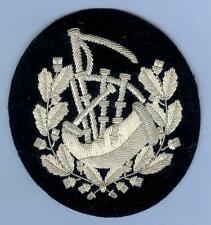 Scottish Bagpipes Pipe Major's Sleeve Badge Patch, Silver Wire