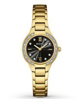 $425 BULOVA Maiden Lane Black Dial Ladies Gold Tone Diamond Watch Item 98R222