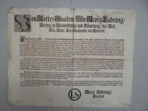 Verordnung - Georg I. Toback Rauchen Brandschutz Lüneburg Einblattdruck - 1712