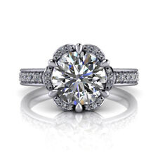 Solitaire Round 1.90 Ct Diamond Engagement Ring 14K White Gold Size 5 6 7 8