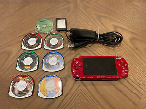 Sony PSP 2001 God Of War Red Edition Handheld Console w/ Charger + Games