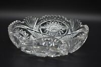 "American Brilliant Period ABP Strawberry Diamonds Hobstars & Fans 7 7/8"" Bowl"