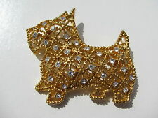 VINTAGE RETRO SCOTTIE DOG PERFORATED CUT OUT WORK BEADING RHINESTONES BROOCH