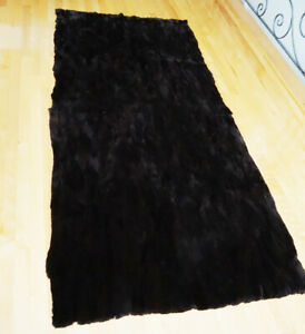 "New Sheared Beaver Fur Blanket Throw Bedspread Rug 47X88"" Plate"